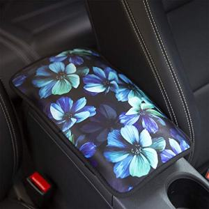 YR Vehicle Center Console Armrest Cover Pad, Universal Fit Soft Comfort Center Console Armrest Cushion for Car, Stylish Pattern Design Car Armrest Cover, Aqua Flower