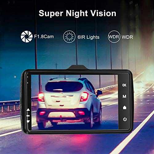 """Dash Cam Front and Rear Car Camera, 1080P 3.2"""" Dashboard Camera with 32GB SD Card, 170°Wide Angle, Night Vision Dashcam for Cars, Driving Recorder with G-Sensor, Loop Recording"""