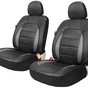 Leader Accessories Platinum Vinyl Faux Leather Universal Car Front Seat Covers 2 pcs/set Black/Grey Airbag Compatible with Headrest Cover