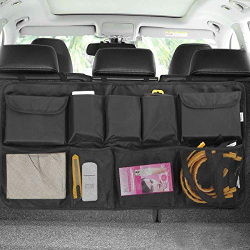 Car Backseat Trunk Organizer, Auto Hanging Back Seat Storage, Car Cargo Trunk Storage Organizer Bag for Truck, SUV, Van with Adjustable Straps