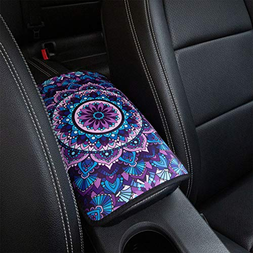 YR Vehicle Center Console Armrest Cover Pad, Universal Fit Soft Comfort Center Console Armrest Cushion for Car, Stylish Pattern Design Car Armrest Cover, Lotus