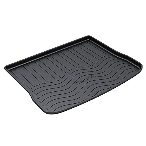 HZGrille Rear Cargo Liner Trunk Floor Mat for Trunk Modification of Tiguan (2009-2011), Waterproof Rubber Mats Provide All-Weather Protection,Black