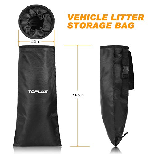 Car Trash Bin Waste Container Washable Leakproof TOPLUS 2-Pack Car Trash Bag, Car Garbage Can, Car Trash Bin Waste Container Washable Leakproof Eco-Friendly Bags for Travelling, Outdoor, Home and Vehicle Uses