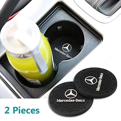 Wall Stickz Auto Sport 2.75 Inch Diameter Oval Tough Car Logo Vehicle Travel Auto Cup Holder Insert Coaster Can 2 Pcs Pack Fit Benz Accessories
