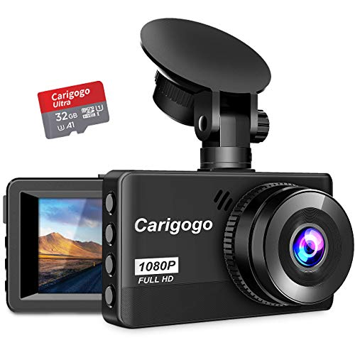 """Dash Cam with SD Card(32G) Carigogo 1080P Full HD Dash Camera for Cars Recorder 3.2"""" Screen 170°Wide Angle, Night Vision, G-Sensor, WDR, Parking Monitor, Loop Recording, Motion Detection"""