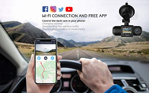 Uber Dual 1080P FHD Built-in GPS Wi-Fi Dash Cam, Front and Inside Uber Dual 1080P FHD Built-in GPS Wi-Fi Dash Cam, Front and Inside Car Camera Recorder with Infrared Night Vision, Sony Sensor, Supercapacitor, 4 IR LEDs,G-Sensor, Parking Mode, Loop Recording, WDR
