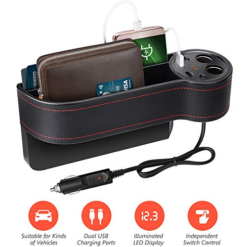 Beusoft Car Seat Gap Filler, Console Side Pocket Full Premium PU Leather Car Seat Storage Organizer with 2 USB Charging Ports 2 Lighters Sockets