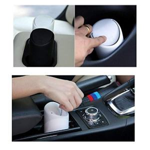 VORCOOL Car Trash Can with Lid Silicone Garbage Dust Bin Storage Barrel Fits Cup Holder in Console or Door (Black)