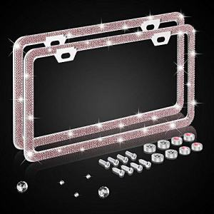 Nomiou Bling Narrow Pink License Plate Frame,Luxury Handmade Waterproof Glitter Rhinestone Crystal Premium Stainless Steel Licence Plate with Anti Theft Screw Caps for Front and Back License