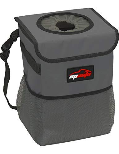 EPAuto Waterproof Car Trash Can with Lid and Storage Pockets, Dark Grey