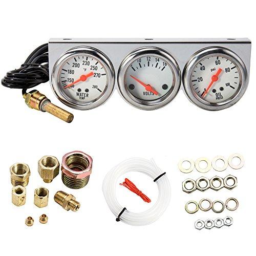 "WarmCare Triple Gauge Kit Oil/Volt/Water Gauge 2"" Chrome Oil Temp Water Temp Gauge Temperature Oil Pressure Voltage Gauge Sensor 3 in 1 Car Meter Auto Gauge"