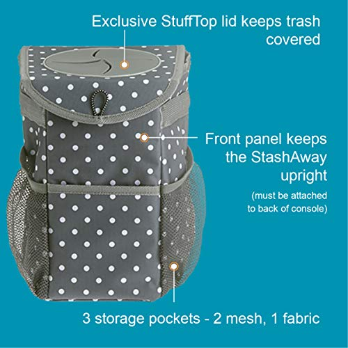 High Road StashAway Console Car Trash Can with Lid (Polka Dot) High Road StashAway Console Car Trash Can with Lid (Polka Dot)