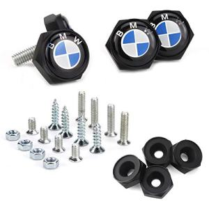License Plate Frame Screw Bolts - Logo Cap Cover Metal Screw Bolts Nuts Anti-Theft Universal Car Truck Accessories fit for BMW 4PCS/Set