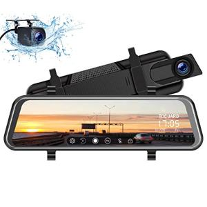 "TOGUARD Mirror Dash Cam 10"" 1080P Backup Camera Front and Rear Dual Lens Car Camera Video Streaming, Rear View Mirror Camera for Car with Waterproof 1080P Rear Camera Parking Assistance Night Vision"