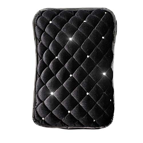 Cheng-store Plush Car Armrest Cover, Universal Auto Center Console Pad, Fashion Diamond Non-Slip Armrest Case Pad Car Decoration for Women (Black)