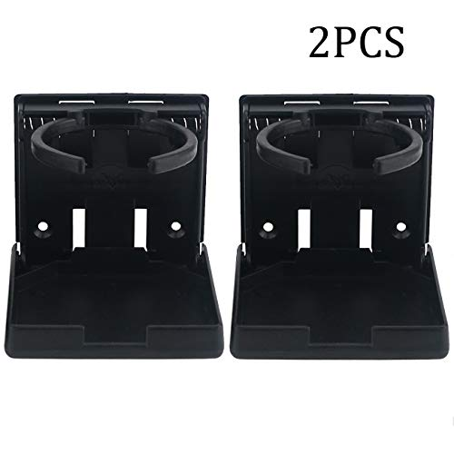 Ogrmar 2PCS Adjustable Folding Drink Holder/Adjustable Cup Holder for Marine/Boat/Caravan/Car/Trucks/RVs/Vans (Black)