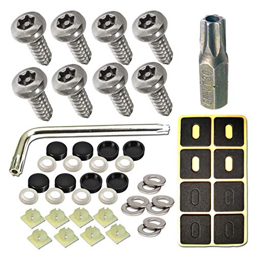 "License Plate Screws Anti Theft - 8 PC Button Head Torx M6 3/4"" Stainless Steel Tamper Resistant Self Tapping License Plate Bolt License Plate Frame Fastener and Black Caps for Acura, Audi, Tesla etc"
