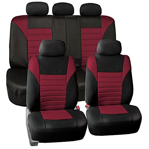 FH Group FB068BURGUNDY115 Burgundy Universal Car Seat Covers Premium 3D Airmesh Design Airbag and Rear Split Bench Compatible