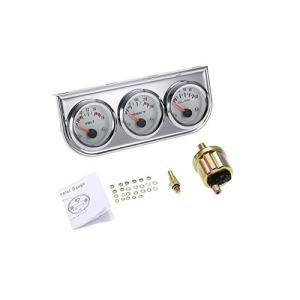 "3 in 1 Car Meter Auto Gauge(Voltmeter + Water Gauge + Oil Press Gauge),2"" Chrome Voltage Gauge Water Temp Gauge Oil Pressure Sensor 12V 52mm Triple Gauge Kit (Fahrenheit White dial face)"