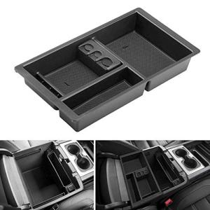 Seven Sparta Center Console Organizer for Chevy/Chevrolet Tahoe Suburban Silverado GMC Sierra Yukon 2015-2018 ABS Tray Armrest Box Secondary Storage Full Console w/Bucket Seats ONLY (Black)