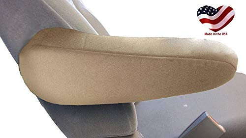 Car Console Covers Plus Made in USA Pair of Neoprene Armrest Covers for Fold Down Armrests Designed for Toyota Sienna Models 2000-2015 Tan