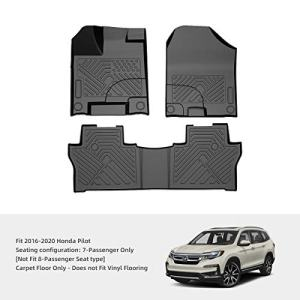 COOLSHARK Honda Pilot Floor Mats, Custom Fit Floor Liners for 2016-2020 Honda Pilot 7 Passenger, 1st and 2nd Row Full Set Floor Mats All Weather Protection, Black Color