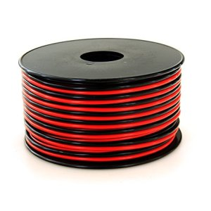 GS Power 16 AWG (True American Wire Gauge) Stranded Flexible Dual Conductor Bonded Zip Cord Cable for Car Amplifier Automotive Trailer Harness Hookup Wiring - 100 feet Red/Black - Pure Copper