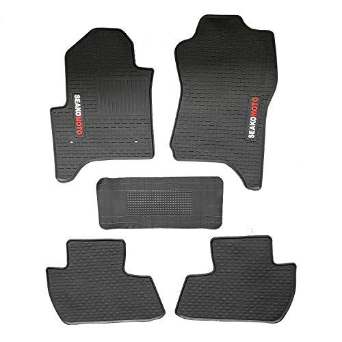 ITAILORMAKER Custom Fit Floor Mats for Chevy Silverado 1500 Double Cab 2014-2020 Front & 2nd Seat Black Latex All Weather Car Truck Protection (Silverado 2014-2018)
