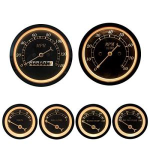 MOTOR METER RACING 6 Gauge Set Classic Instruments Mechanical Speedometer Analog Odometer Black Dial