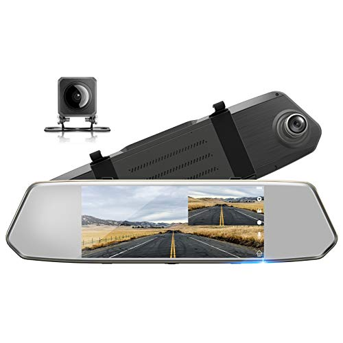 "TOGUARD Backup Camera for Cars 7"" Mirror Dash Cam"