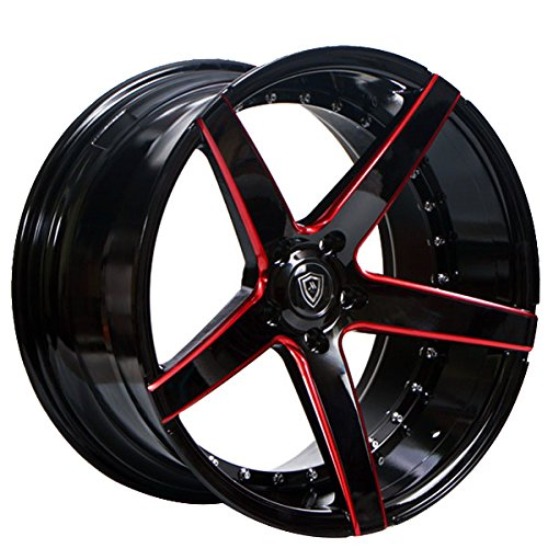 Fits Challenger, Charger, Mustang 20 Inch Staggered Rims Black and Red Wheels