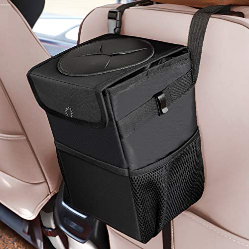 Auesny Upgraded Car Trash Can with Lid and 3 Storage Pockets