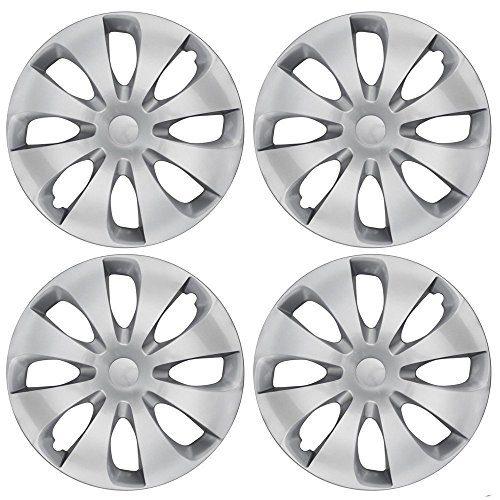 Silver Hubcaps Wheel Covers Full Heat & Impact Resistant Grade