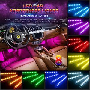 wsiiroon Car LED Strip Light,4pcs 48 LED Multicolor