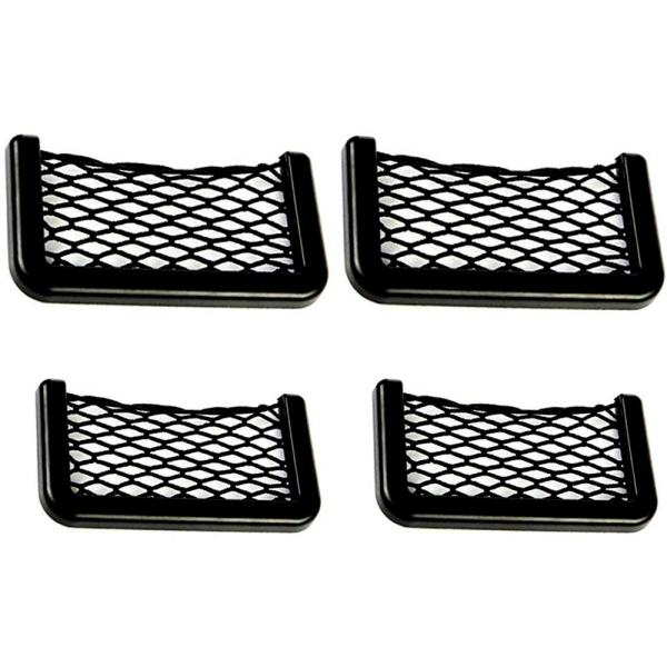 Meltset M 4Pcs Car Storage Net, Black Seat Side Back Storage Net Bag