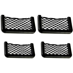 Meltset M 4Pcs Car Storage Net, Black Seat Side Back Storage Net Bag