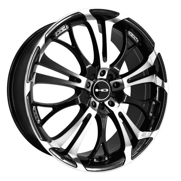 "HD Wheels 16"" Inch Wheel Rim Spinout Black Machined"