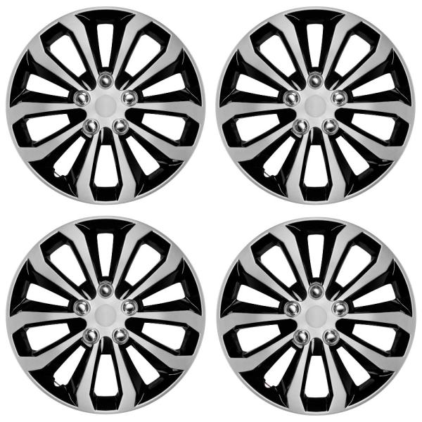 """Hubcaps 16"""" Wheel Covers Black & Silver"""