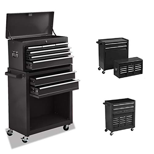 Garage Rolling Tool Chest Portable Removable Tool Cabinet