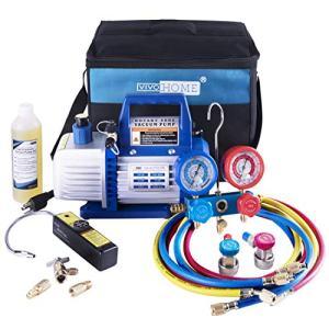 Air Vacuum Pump and R134a AC Manifold Gauge Set Kit