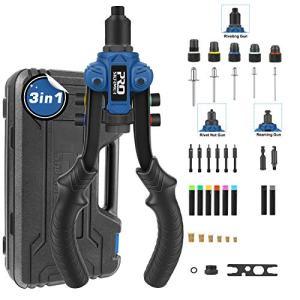 Rivet Nut Tool 3 in 1, PROSTORMER Rivet Gun Reamer Set