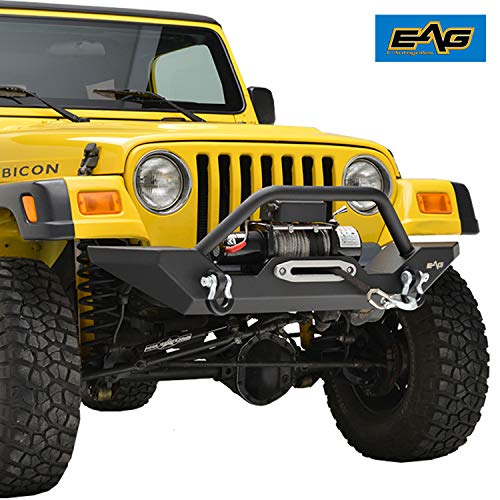 EAG Steel Front Bumper with Winch Plate Black Textured
