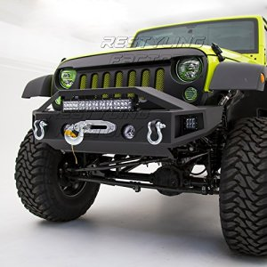 Restyling Factory - Black Textured Rock Crawler Stubby Front Bumper