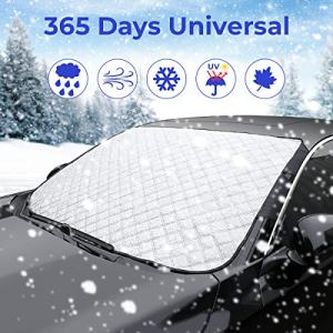 JOYTUTUS Windshield Cover, 4 Layers Protection Snow Cover