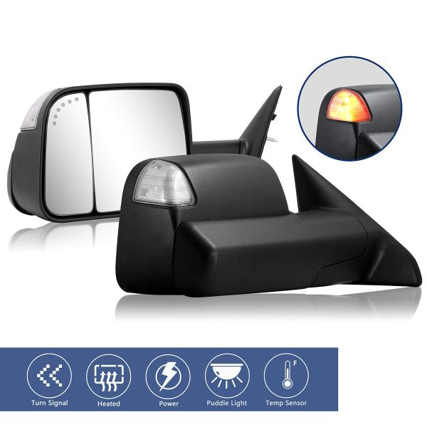 Towing Mirrors Replacement fit for 2009-2017 Dodge