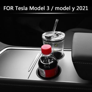 Automobile Heart Console Cup Holder Insert for Tesla Model 3 Y 2021 Automobile Inside Equipment Black Transportable Automobile Cup Holder Removable