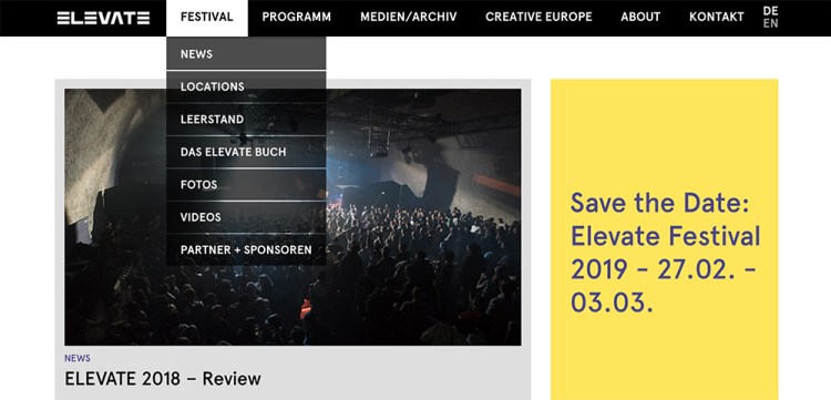 The Elevate festival's global navigation.