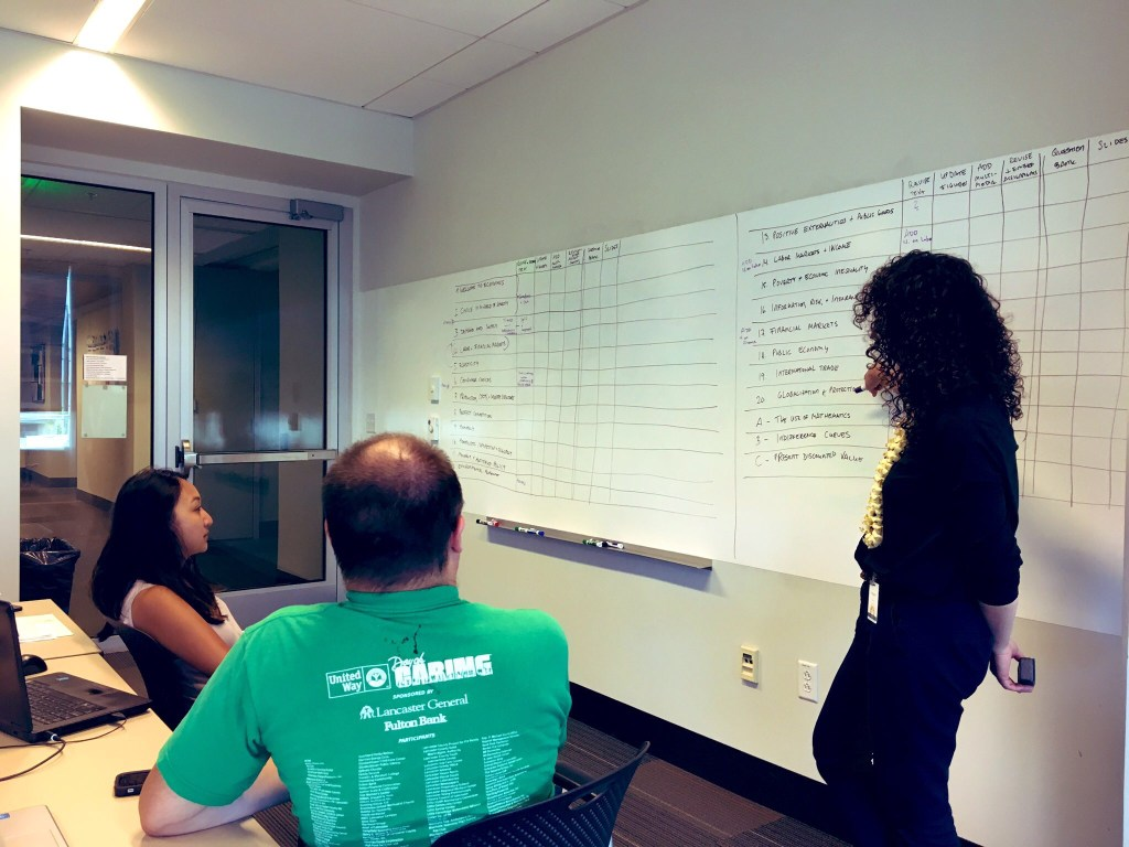 Professors and a facilitator in front of a white board