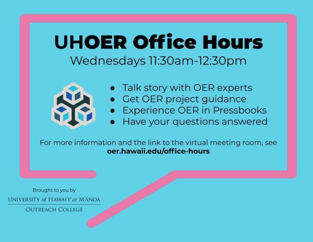 UH OER office hours information