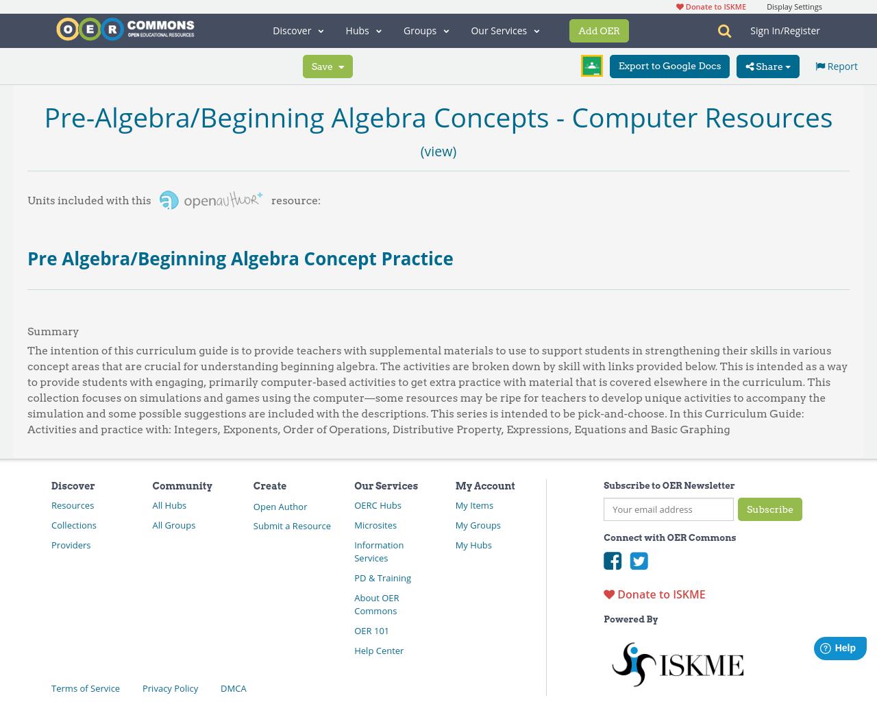 Pre Algebra Beginning Algebra Concepts